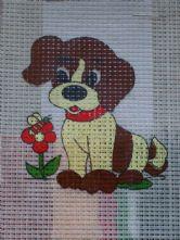 Puppy Dog with Flower Printed 6 Count Binca  Cross Stitch Kit